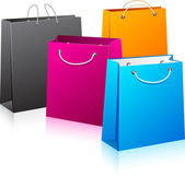 Set of color shopping bags. — Vector de stock