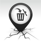 Delete black icon in crack. — Stock Vector