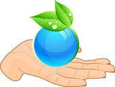 Globe in hand. — Stock Vector