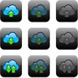 Royalty-Free Stock Vector Image: Square cloud computing app icons.