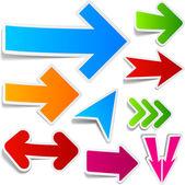 Conjunto de la etiqueta engomada colores flechas. — Vector de stock