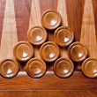 Wooden checkers on board backgamon — Stock Photo