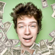Closeup portrait of a young man with money rain — Stock Photo