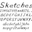 Stock Vector: Sketch alphabet