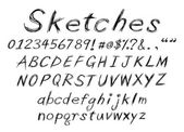 Sketch alphabet — Stock Vector