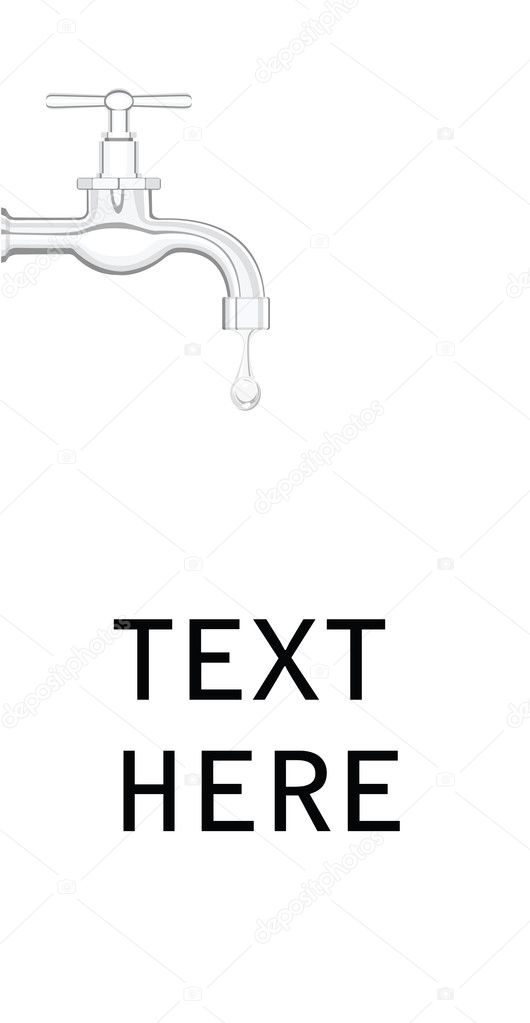 A water tap with realistic water droplet, on a white background — Stock Vector #5890048