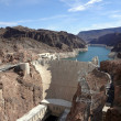 Stock Photo: Hoover Dam overhead seen from Arizonside