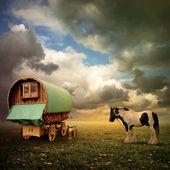 Carromato gitano, caravana — Foto de Stock