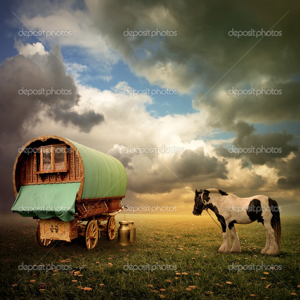 An Old Gypsy Caravan, Trailer, Wagon with a Horse  Stock Photo #5938041