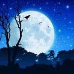 Orman peyzaj moon ile — Stok Vektör