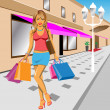 Girl Shopping — Stock Vector