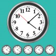 Stock Vector: Clock Faces