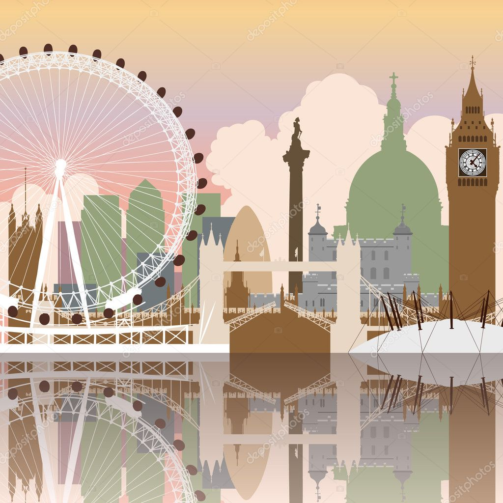A Vector Cityscape of London with Reflection  Stock Vector #6373255