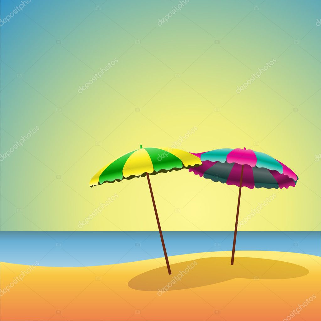 A Sandy Beach with two Parasols — Stock Vector #6604024