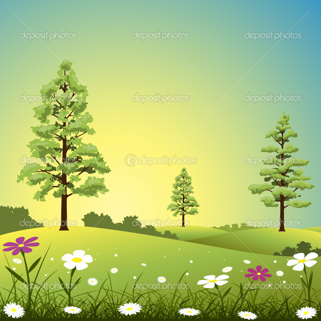 A Country Landscape with Trees and Flowers — Stock Vector #6604034