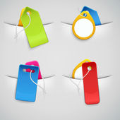 Set of colourful price tags in the pockets — Stock Vector