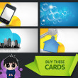 Set of modern business cards with extra bonus elements — Stock Vector
