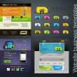 Web design set +bonus icons — Wektor stockowy #6648025