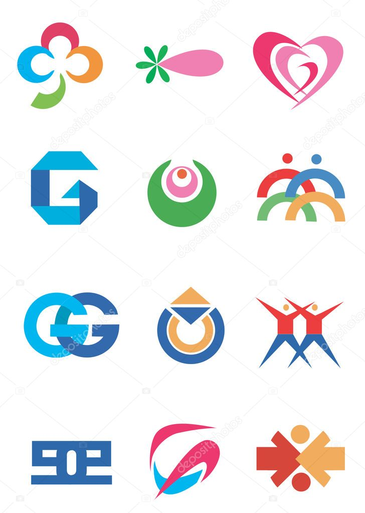 Several concepts for company logos. Vector illustration. — Stock Vector #5414334