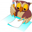 Wise owl  writing - Stock Vector