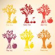 Different trees and fruits. — Stock Vector