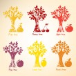 Different trees and fruits. - Vettoriali Stock 
