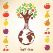 Decorative tree with diffetent fruits. - Imagen vectorial