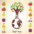 Decorative tree with diffetent fruits. - Vettoriali Stock 