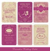 étiquettes vintage décoratives de mariage — Vecteur