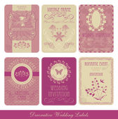 Wedding decorative vintage labels — Vettoriale Stock