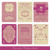 Wedding decorative vintage labels — Vector de stock