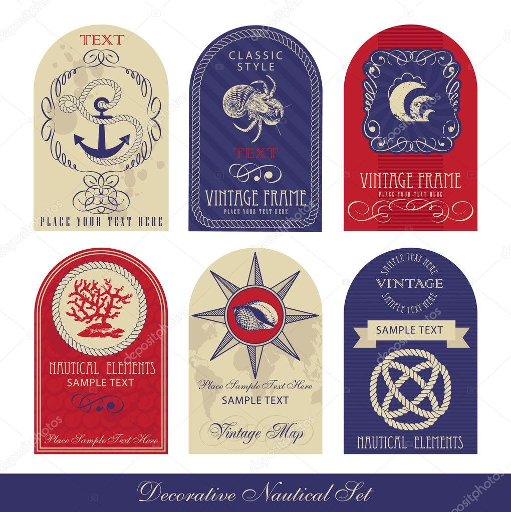 Decorative Nautical Set — Stock Vector #5449640