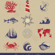 Vector de stock : Decorative Nautical Set