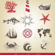 Decorative Nautical Set - Imagens vectoriais em stock