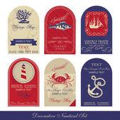Set nautico decorativi — Vettoriale Stock