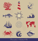 Decorative Nautical Set — Stock Vector
