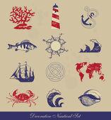 Dekoratif deniz set — Stok Vektör