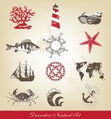 Ozdobny zestaw morskie — Wektor stockowy