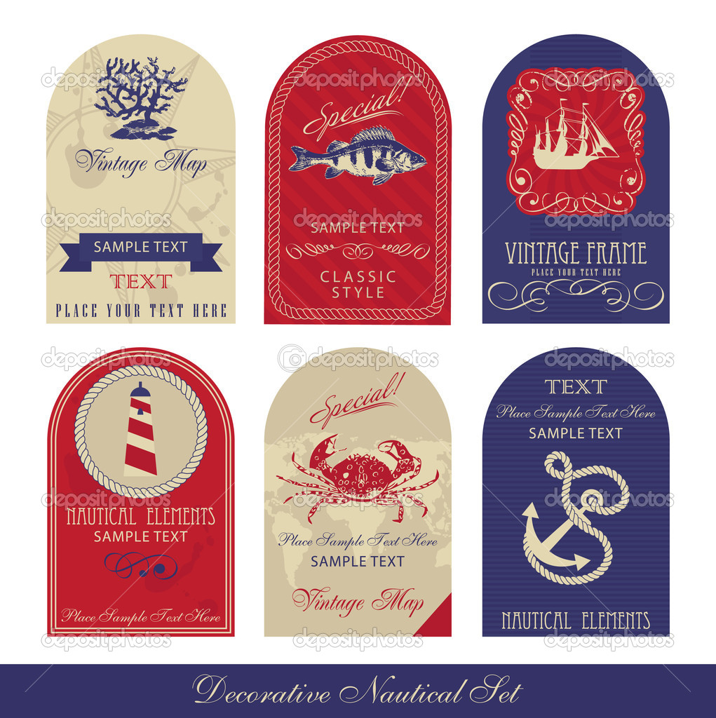 Decorative Nautical Set  Stock Vector #5465883