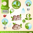 图库矢量图片: Ecology icons and design elements