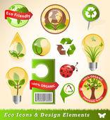 Ecologia ícones e elementos de design — Vetorial Stock