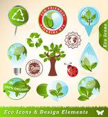 Ekologia ikony i elementy projektu — Wektor stockowy