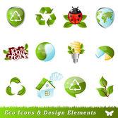Ecología iconos y elementos de diseño — Vector de stock
