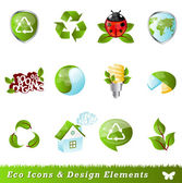 Ecology icons and design elements — Stok Vektör