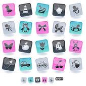 Conjunto de iconos de los niños — Vector de stock