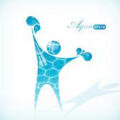 水の男。自然シンボル — ストックベクタ