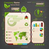 Website Design Template. Ecology theme. — Stock Vector