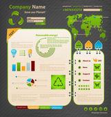 Modello di progettazione del sito web. tema ecologia. — Vettoriale Stock