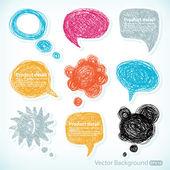 Ilustración de burbujas de discurso dibujados a mano — Vector de stock