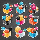 Conjunto de caixas coloridas — Vetorial Stock